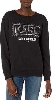 Karl Lagerfeld Paris 女士亮片轮廓卡尔运动衫