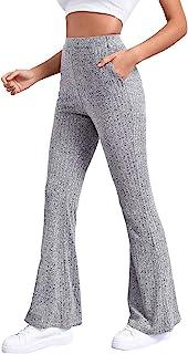 MakeMeChic 女式纯色生菜饰边高腰喇叭裤