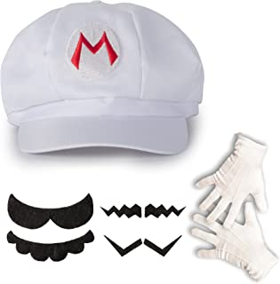 Katara 0763461100909 White Super Mario Beanie/Gloves/Beard Costume Set for Adults (One Size)