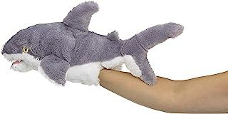 Eco Pals 野生动物艺术家鲨鱼木偶,填充动物毛绒玩具木偶 45.72 厘米,环保,刺绣*和鼻子,由 * 消费后和再生材料制成