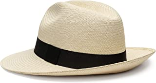 QISU 正宗巴拿马男式和女式帽,手工编织工艺,宽帽檐透气舒适,经典夏装 天然 Medium (56cm) 7