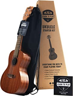 官方 Kala Learn to Play 尤克里里音乐会入门套件,绸缎红木 - 包括在线课程、调谐器应用程序和小册子(KALA-LTP-C)