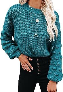 HOTAPEI 女式圆领套头针织灯笼袖基本款针织毛衣上衣
