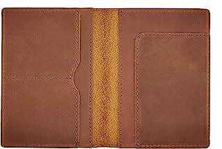 护照夹,5.5 英寸(约 14.0 厘米) 4 英寸(约 10.2 厘米)多功能皮革护照保护套手工制作牛皮旅行身份证信用卡钱包复古登机证文件收纳包 男女适用 棕色 均码