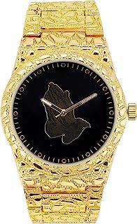男士定制表盘闪亮手表,单粒表圈 - 冰上模拟实验室钻石和镀金/银金属表带(可提供祈祷手,23 等)