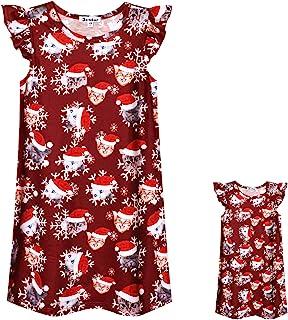 搭配的女孩和娃娃睡袍独角兽衣服飘逸袖睡裙
