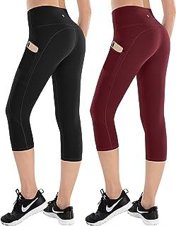 ESPIDOO 女式高腰瑜伽裤 女士健身裤 4 向弹力打底裤 带口袋 2 或 3 件装