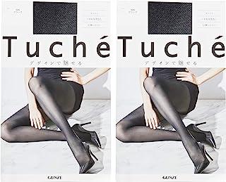 GUNZE 郡是 丝袜 Tuche 网眼图案 不易脱丝 同色2双装 女士