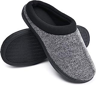 TEMI 男式 舒适*泡沫拖鞋 温暖柔软卧室拖鞋 男式一脚蹬冬季房子鞋 室内室外防滑橡胶鞋底