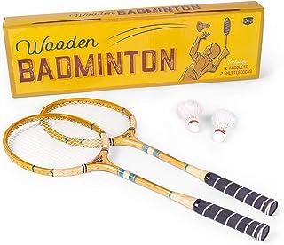 Crown Sporting Goods 复古木羽毛球套装 | 经典户外草坪游戏用于后院家庭娱乐 | 包括 2 根实木球拍和优质羽毛球