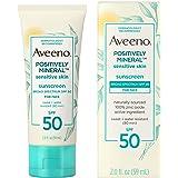 Aveeno 艾惟诺 Positively Mineral 敏感肌肤日常防晒乳液,适用于面部,广谱SPF 50,含氧化锌…
