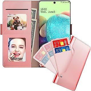 兼容三星 Galaxy A71 5G 钱包式手机壳信用卡夹,磁性支架皮革翻盖保护套,适用于三星 Galaxy A71 5G(带镜子、玫瑰金)