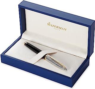 Waterman 威迪文 Carène 豪华钢笔,亮黑色和镀银,带 23k 镀金笔夹,细笔尖,带蓝色墨囊,礼盒