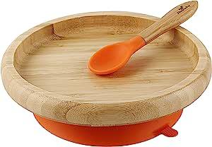 Avanchy Baby 幼儿喂食盘子吸盘不分开式经典竹子盘 + 婴儿勺 - 很棒的婴儿礼品套装 橙色