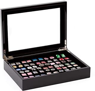 袖珍黑色袖扣储物盒/盒,价格实惠(可容纳 36 双)