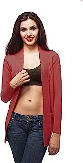 Hollywood Star 时尚长袖罗纹带开襟羊毛衫带口袋