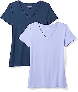 Amazon Essentials 女式 2 件装经典修身短袖 V 领 T 恤