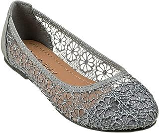 CLOVERLY 女式芭蕾舞鞋花卉透气钩针编织蕾丝芭蕾平底鞋