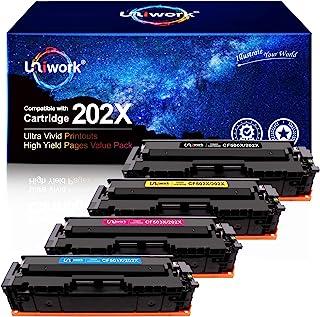 Uniwork 兼容硒鼓替换件适用于 HP 202X 202A CF500X CF500A 与激光打印机 Pro MFP M281fdw M281cdw M254dw M281 M281dw M280nw 碳粉打印机(黑色、青色、洋红色、黄色)