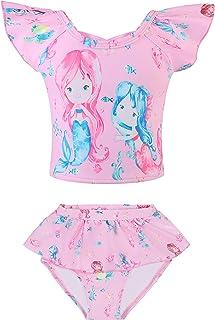 WhyNO 女童泳装儿童泳衣泳装两件套,适合 3-8 岁 玫瑰色