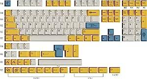 HK Gaming Dye 升华键帽 | Cherry Profile | 厚 PBT 键组,适用于机械键盘(139 键,蜜蜂)