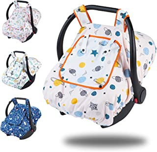 Primlect 婴儿汽车座椅罩,带尿窗,透气隔热婴儿汽车座椅遮篷,360 覆盖婴儿推车罩,适用于所有型号(适用于男孩,白色,行星)