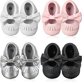 4 双婴儿学步鞋蝴蝶结流苏婴儿软底学步鞋适合婴儿(白色、粉色、黑色、银色)