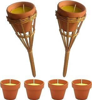 KIPPEN 6102 件套香茅驱蚊罐,带 2 个竹子火炬,多色