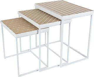 "Deco 79 金属和木质嵌套桌,2件套,棕色/黑色,53.3 厘米 x 58.42 厘米 白色/棕色 18"" x 21"" x 24"" 14873"