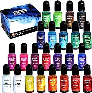 酒精墨水套装 - 24 支高饱和酒精墨水 - 无酸、快干和永久性酒精墨水 - 多功能酒精墨水适用于树脂、玻璃和金属
