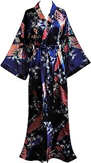 JANA JIRA 女式和服长袍带孔雀和花朵图案,20世纪20年代和服睡衣