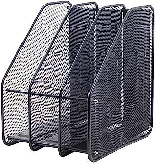 垂直风格 3 插槽网状金属文件夹架,桌面文件收纳盒书架(3 个插槽)(3 个黑色)