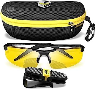 BLUPOND 高清夜视驾驶眼镜 - 透明视野半偏光防眩光黄色镜片 - 牢不可破金属框架与汽车夹支架 - 骑士遮阳板