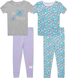 Rene Rofe 女婴睡衣套装 - 4 件套舒适修身短袖 T 恤和慢跑裤(婴儿/幼儿)