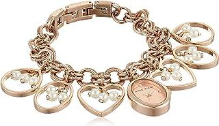 Anne Klein 女式施华洛世奇水晶点缀玫瑰金吊坠手链手表,AK/3562RGCH