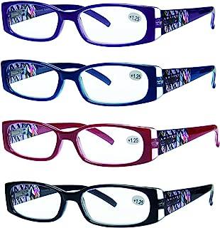 老花镜4支装优质弹簧铰链时尚设计女式眼镜阅读4种颜色