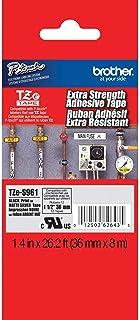 Brother 正品 P-touch TZE-S961 胶带 1-1/2 英寸(3.6 厘米)宽*度粘合层压胶带,黑色哑光银层压,适用于室内或室外,防水,1.4 英寸 x 26.2 英寸(36 毫米 x 8 米),TZES961