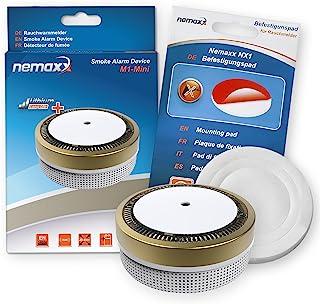 Nemaxx M1 – 迷你烟雾探测器 – 敏感的光电烟雾探测器,带锂电池型号 DC3V 符合 DIN EN14604 & VDs – 金色 + NX1 固定垫