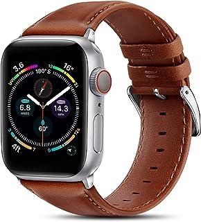 BRG 皮革表帶兼容 Apple Watch 蘋果手表表帶 44 毫米 42 毫米 40 毫米 38 毫米,男式女式替換真皮表帶,適用于 iWatch SE 系列 6 5 4 3 2 1,橙色棕色表帶/銀色適配器,40 毫米 38 毫米
