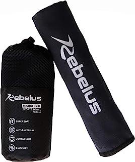 Rebelus 超细纤维运动毛巾 - 健身房、瑜伽、户外运动、游泳、海滩、露营和体育活动 - 颜色:黑色,小号 - 16x32 英寸。
