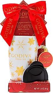 贴心的礼物,Godiva 马克杯礼品套装,包括 Godiva 假日旅行杯带盖和薄荷Godiva 热巧克力混合