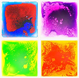 LittleAge 感官地板砖,4 件装(每个 11.8 英寸 x 11.8 英寸),多色液体砖儿童游戏垫