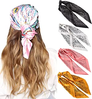 27 英寸(约 68.9 厘米)丝绸触感方形头巾 - 4 件缎面头巾 适合女士头巾 头巾 睡巾 颈巾 (星星 黑色 + 白色 + 粉色+黄色))