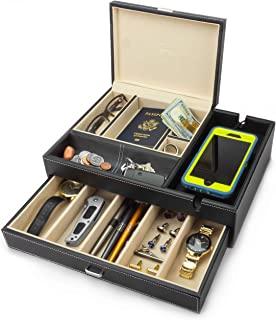 HOUNDSBAY Admiral Big Dresser Valet Box & 男士珠宝盒收纳盒带大型智能手机充电站 象牙色 X大码