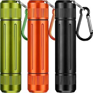 3 件便携式药丸容器瓶金属药丸容器铝合金药丸盒防水药盒旅行药盒带钥匙链,适合户外露营旅行(3 种颜色)
