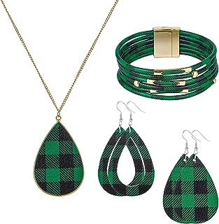 MTSCE 女式时尚珠宝套装,圣诞格子多层手链,人造皮革吊坠耳环格子项链,适合四季穿着