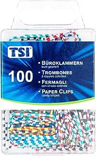 TSI 回形针 28 毫米 100 件装 彩色条纹
