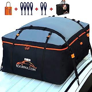 RoofPax 车顶袋和车顶载物架 防水卓越的军事品质汽车顶部载物架。 重型车顶行李袋 适合所有带/不带机架的车辆。 包括4 + 2门钩。 19立方英尺/约0.54立方米