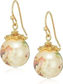 1928 Jewelry 女式金色花卉珍珠贴花钢圈耳坠,多色,1.5