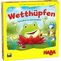 HABA 305272 Wetthüpfen 竞技跳跃 骰子游戏 适于3至7岁儿童 多种玩法 由硬纸和木头制成 适于3岁…